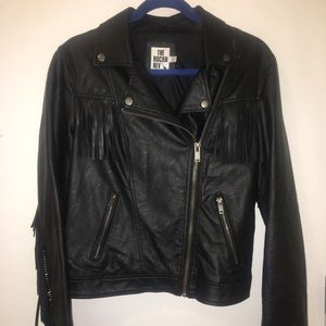Fringe faux-leather jacket